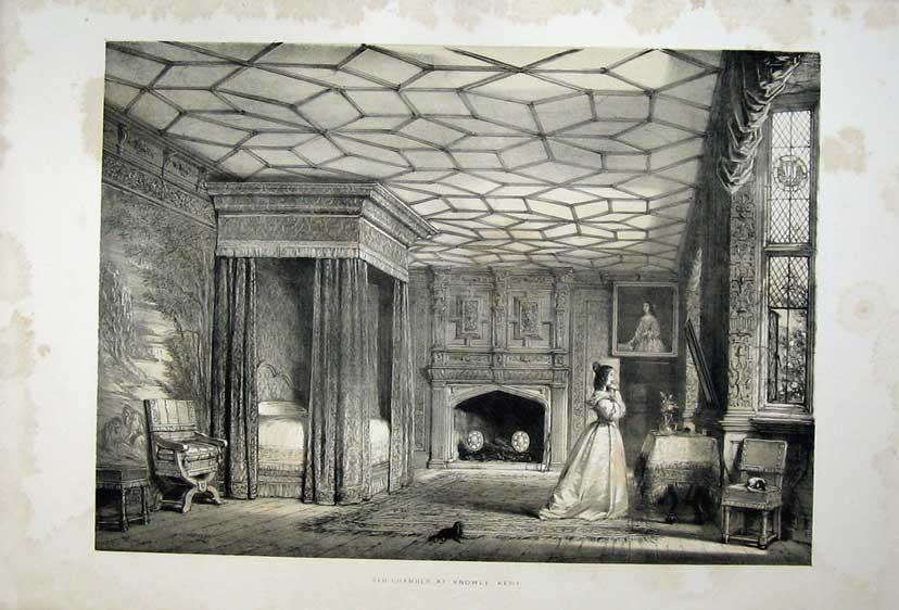 Print Nash 1840 Lady Bed Chamber Knowle House Kent England 126C223 Old Original
