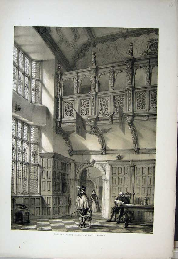 Print Nash 1840 Interior Gallery Hall Hatfield House Herts 128C223 Old Original