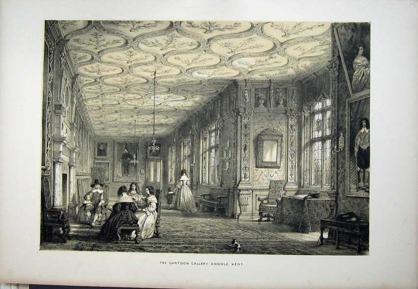 Print Interior Cartoon Gallery Knowle Kent England Nash 1840 131C223 Old Original