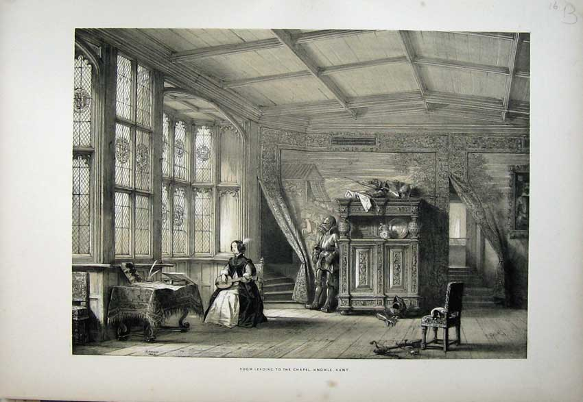 Print Nash 1840 View Room Leading Chapel Knowle Kent England 133C223 Old Original