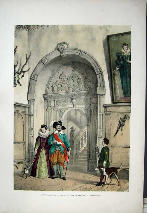 Print 1839 Nash Grand Staircase Holland House Kensington 138C223 Old Original