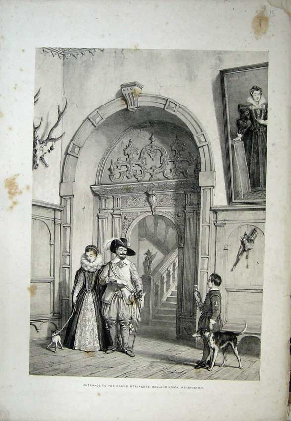 Print Entrance Grand Staircase Holland Kensington Nash 1839 143C223 Old Original