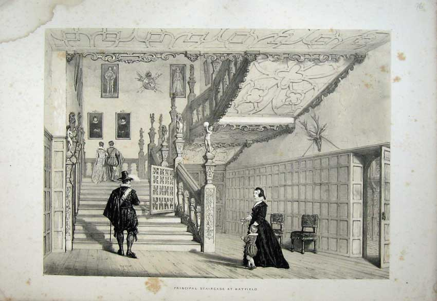 Print View Principal Staircase Hatfield House England Nash 147C223 Old Original