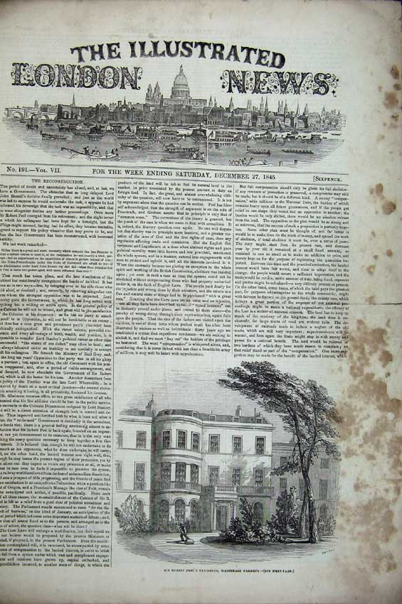 Print Robert Peel 1845 Church Ship Zealand Leadenhall Coach 104C224 Old Original