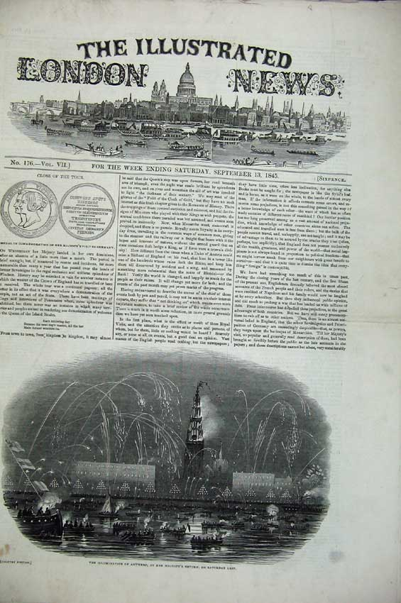 Print 1845 Antwerp Queen Palace Triumphal Arch Gotha Hospital 106C224 Old Original