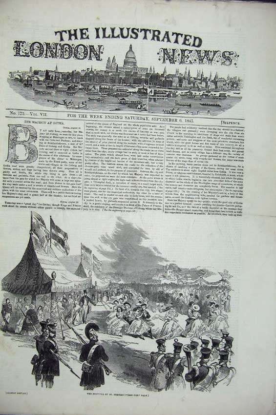 Print Festival 1845 Albert Theatre Luther Banquet Queen Rhine 107C224 Old Original