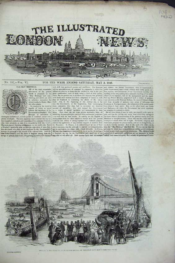 Print 1845 Suspension Bridge Grotto Temple Fountain Horse 108C224 Old Original