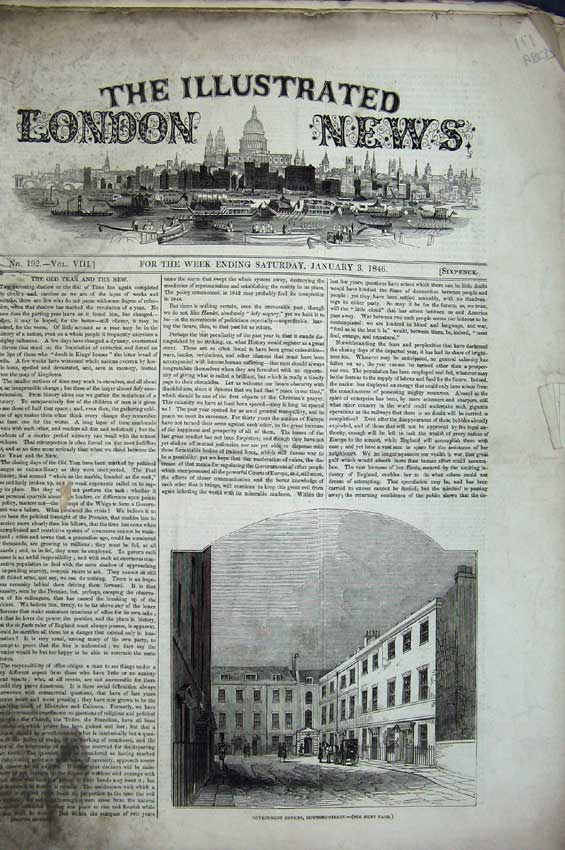 Print Government 1846 Ship Napoleon Hotel Theatre Tom Thumb 111C224 Old Original