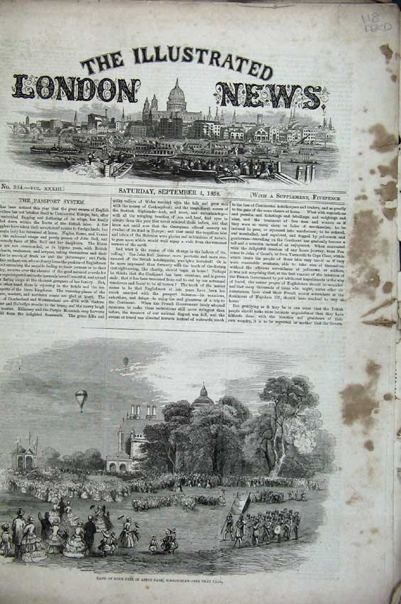 Print Fete Aston 1858 Norway Ship Genoa Harbour Jacobs Hudson 118C224 Old Original