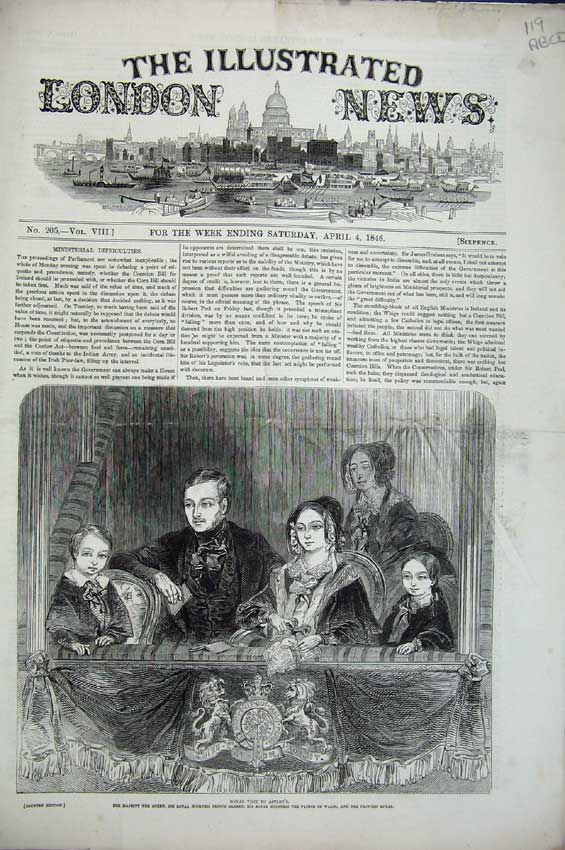 Print Queen Astley Pilgrims Gholab 1846 Post Office Church 119C224 Old Original