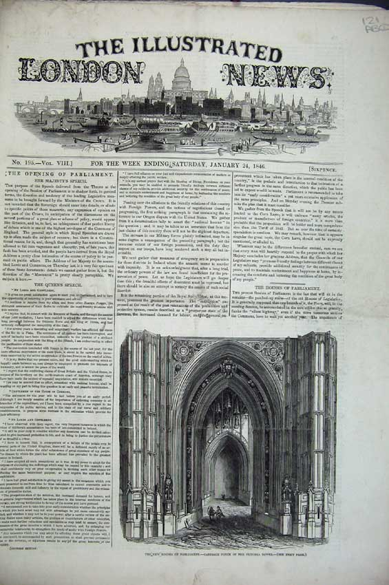 Print Parliament 1846 Viaduct Ship Physician Queen Lords Lord 121C224 Old Original