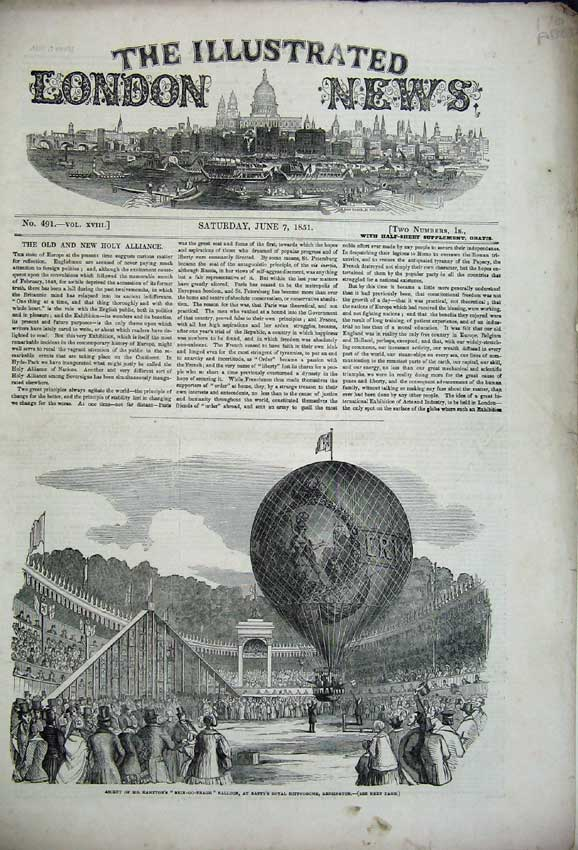 Print 1851 Balloon Kensington Museum Janin Ascot Wyld Earth 176C225 Old Original