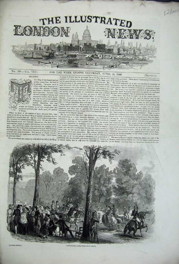 Print 1846 Longchamps Paris War India Ship Raleigh Palace 126C226 Old Original