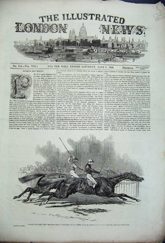 Print 1846 Epsom Races Napoleon Ham Pacha Train Theatre Fish 132C226 Old Original