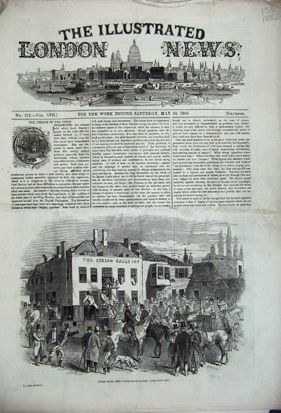 Print 1846 Epsom Races Laboratory Balloon Theatre Priory 133C226 Old Original