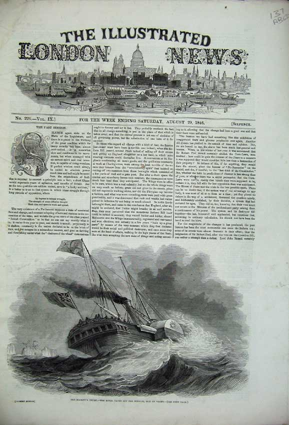 Print 1846 Queen Ship War Circassia Harvest Music School Park 137C226 Old Original