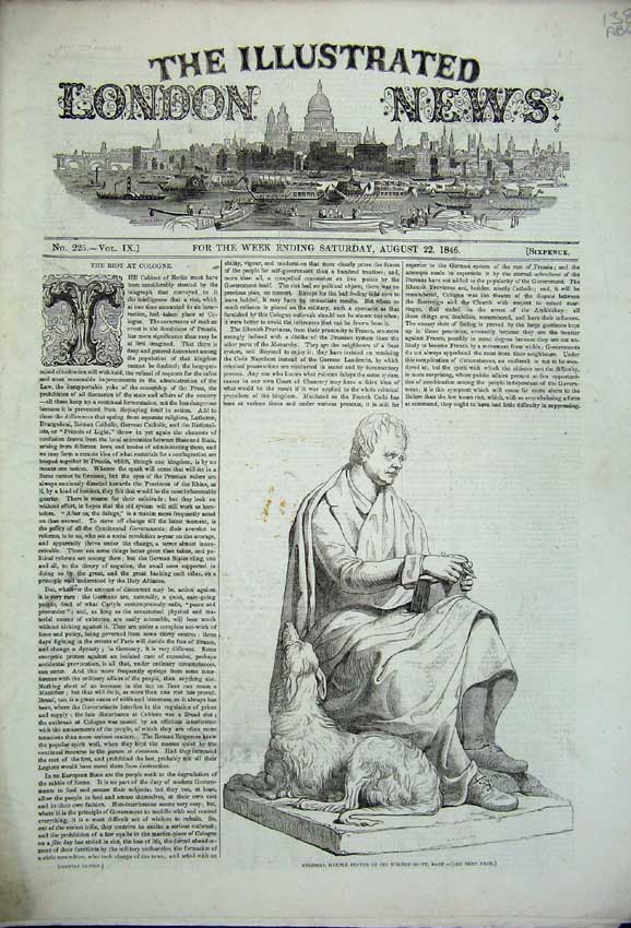 Print 1846 Walter Scott War Kaffirland Cologne Ryds Pier Ship 138C226 Old Original