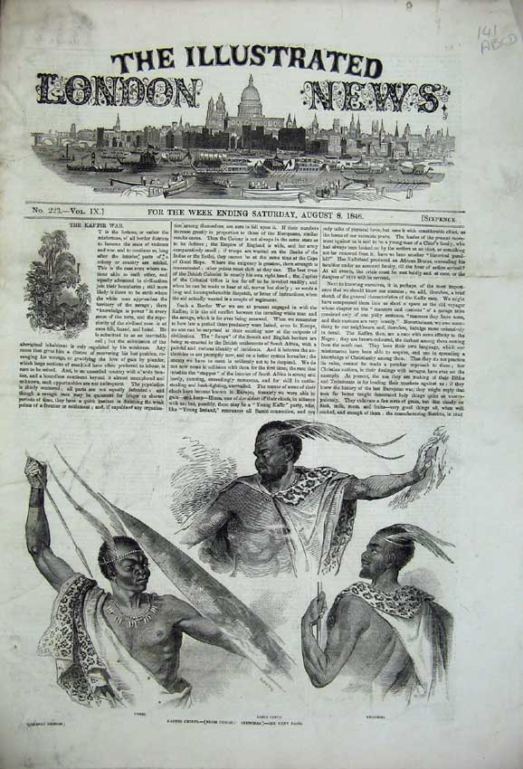 Print 1846 Kaffir Chiefs War Storm Paris Prince Albert Fish 141C226 Old Original