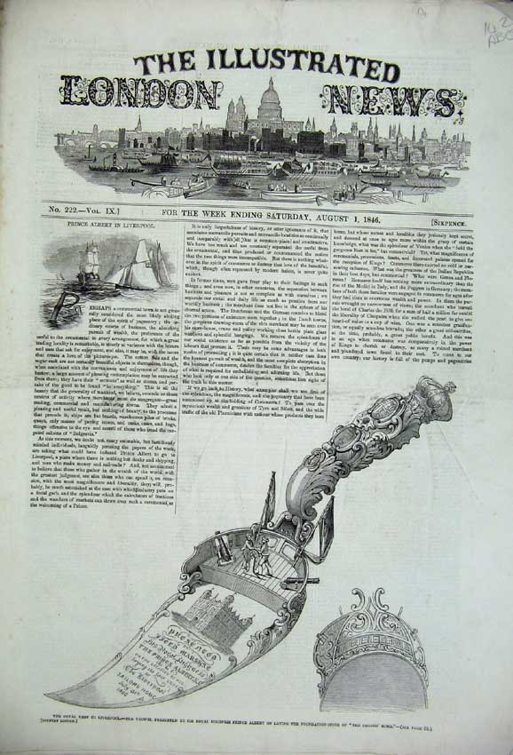 Print 1846Albert Trowel Liverpool Ship Sailor Banquet Theatre 142C226 Old Original