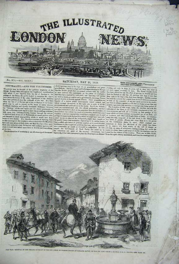 Print 1859 War French Troops Duke Leeds Baron Theatre Church 146C226 Old Original