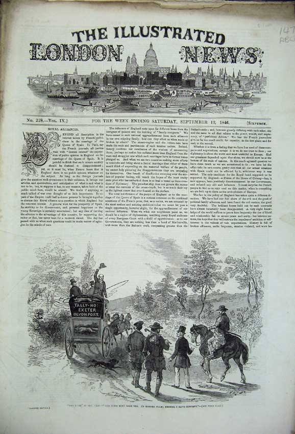 Print Hotel Westminster Bridge 1846Queen Jersey Theatre Train 147C226 Old Original