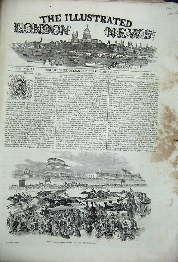 Print 1845 Liverpool Horse Bank England Theatre Greenwich 149 149C226 Old Original