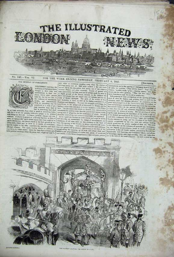 Print 1845 Queen Lords Court Sheriff Parliament Commons Ox 154C226 Old Original