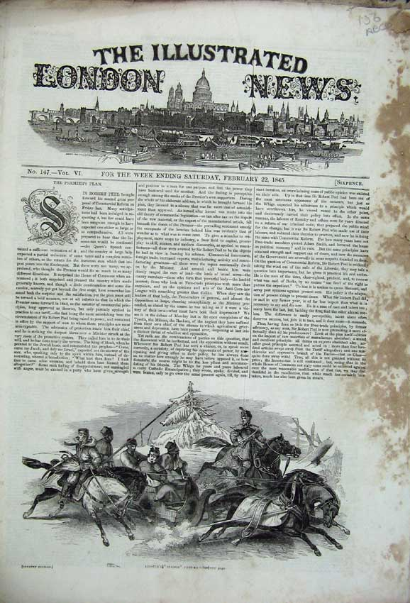 Print Horse Sledge Snow 1845 War Kolapore Railway Theatre 156C226 Old Original