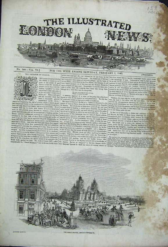 Print Square Mexico 1845 French Peers Church Theatre Tennis 159C226 Old Original