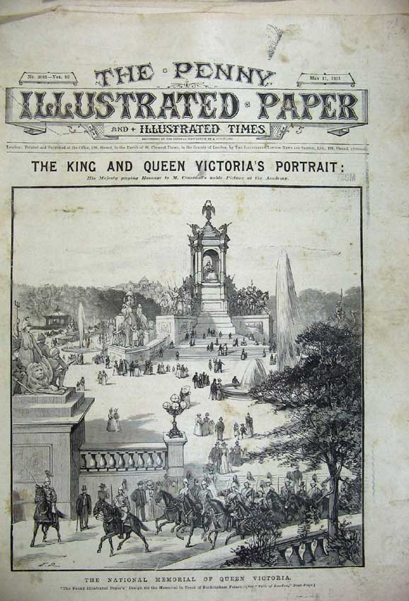 Print Memorial Queen Victoria 1901 Fire London King Edward 121C227 Old Original