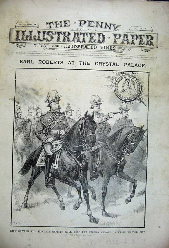 Print King Edward War Horse 1901 Crystal Palace Navy Ships 123C227 Old Original