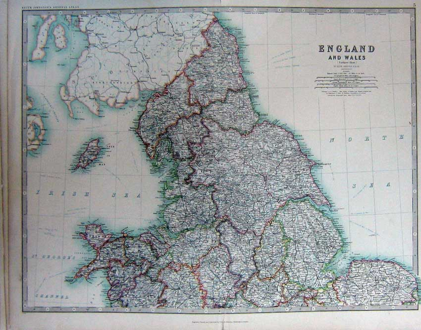 [Print Map England Wales Atlas Isle Man North Sea Geography 005C228 Old Original]
