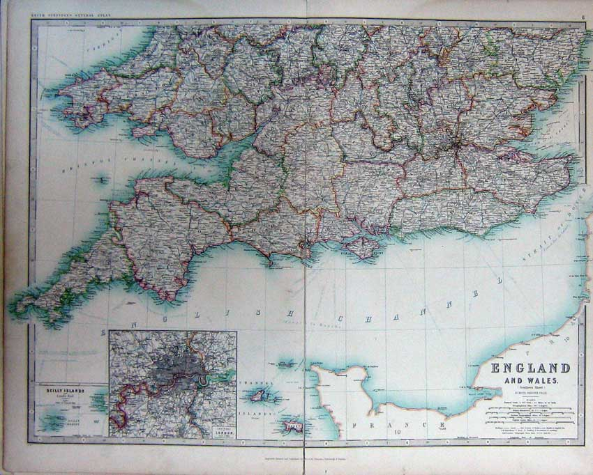 Print Map England Wales Atlas London Channel Islands Scilly 006C228 Old Original