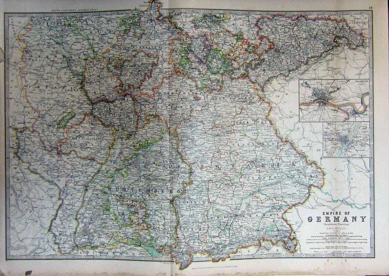 [Print Map Germany Atlas Frankfurt Munich Geography C1901 018C228 Old Original]