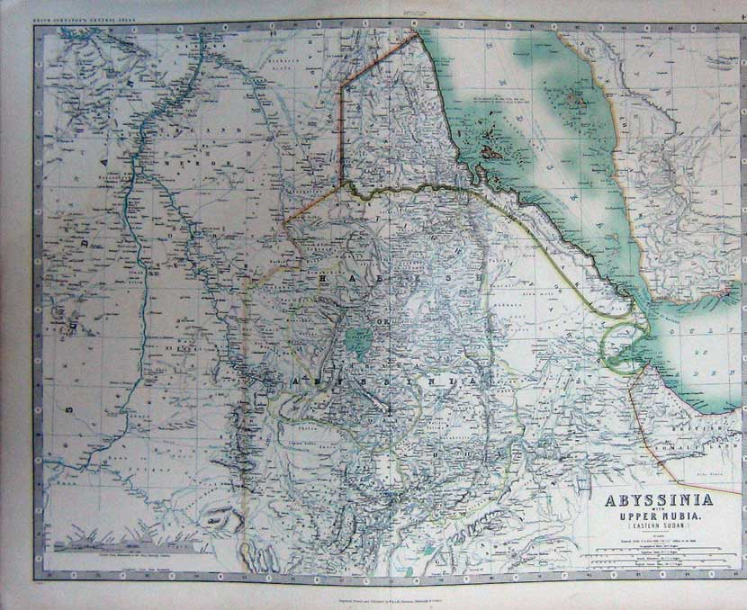 Print Map Abyssinia Nubia Atlas Gulf Aden Sudan Red Sea C1901 044C228 Old Original