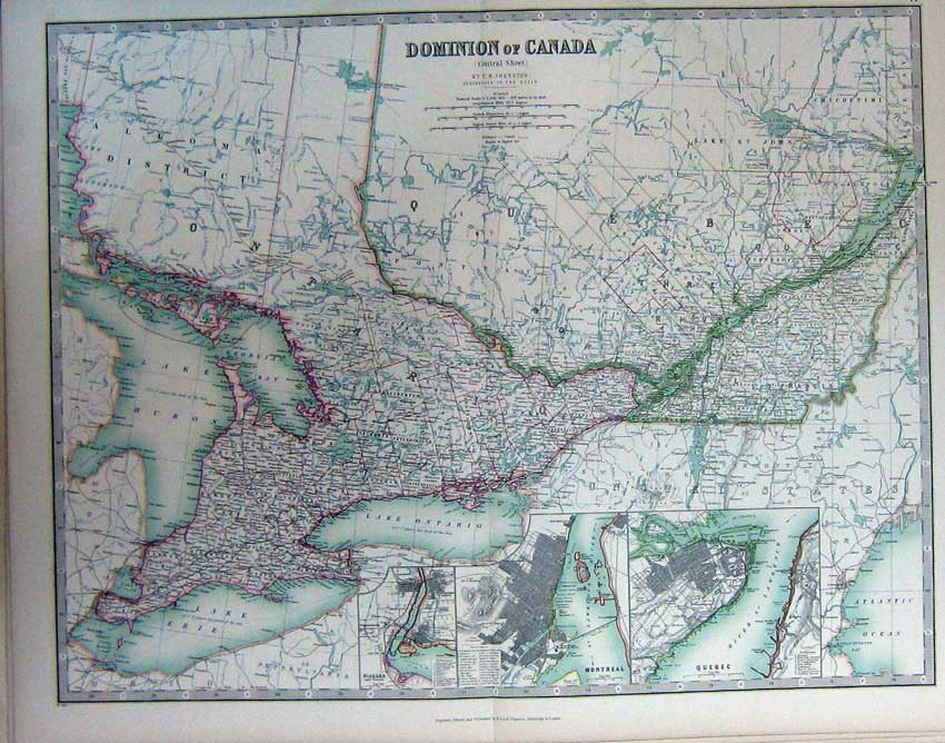 Print Atlas Dominion Canada Quebec Montreal Map Niagara 047C228 Old Original