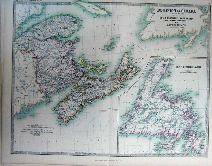 Print Map Dominion Canada Newfoundland Brunswick Scotia 048C228 Old Original