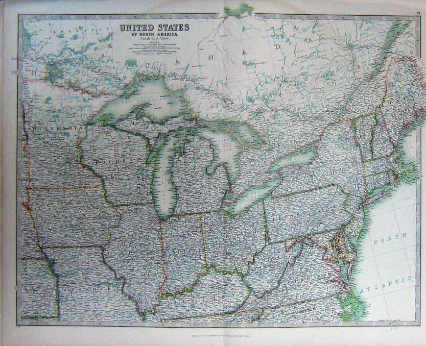 [Print Atlas United States America North Map Geography C1901 049C228 Old Original]