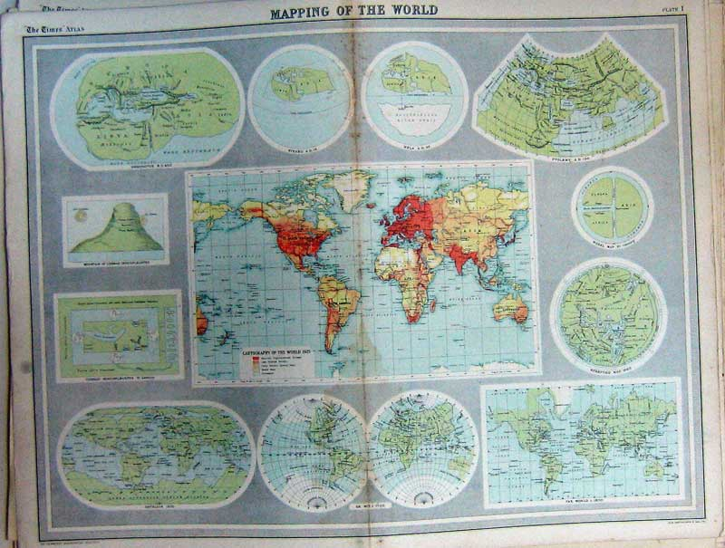 Print Map World Atlas Cartography Wheel Mountain Cosmas 001C229 Old Original