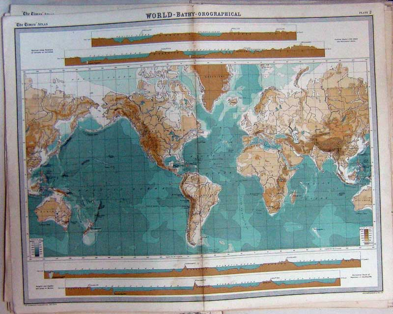 Print World Bathy-Orographical Map Atlas Mountains Height 002C229 Old Original