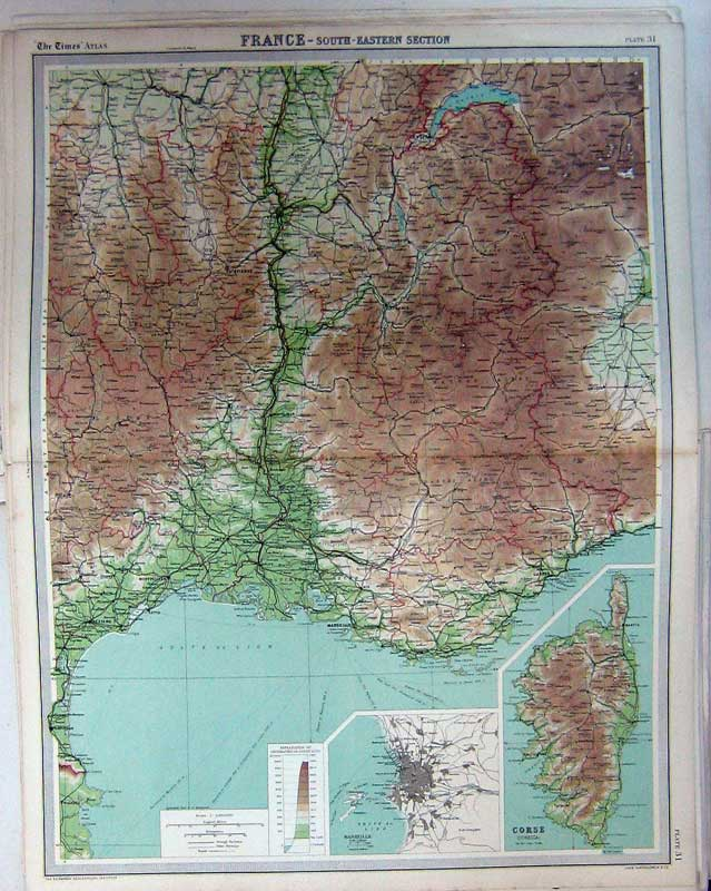 Print Map Southern France Marseille Corsica Europe Atlas 031C229 Old Original