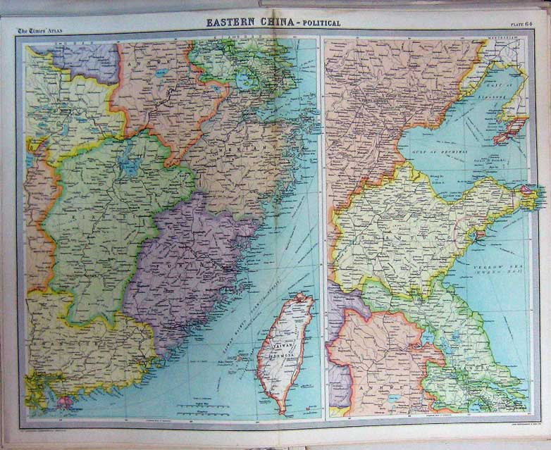 Print Political Map Eastern China Taiwan Yellow Sea Atlas 064C229 Old Original
