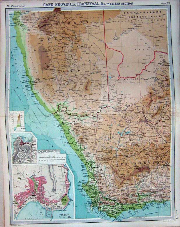 Print Map Cape Province Transvaal Africa Cape Town Table Bay 072C229 Old Original
