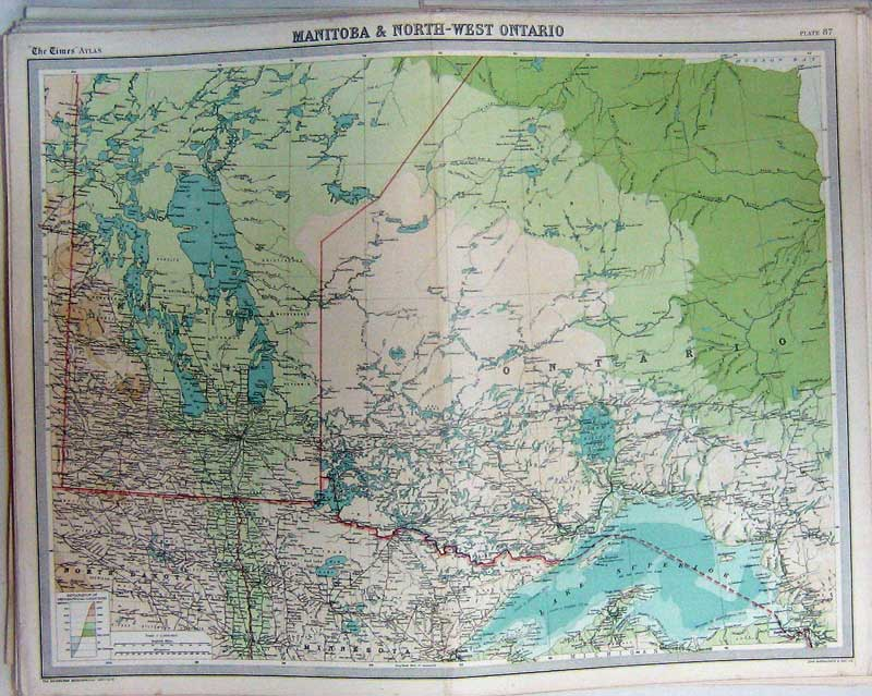 Print Map Manitoba Ontario Canada Lake Superior Minesota 087C229 Old Original