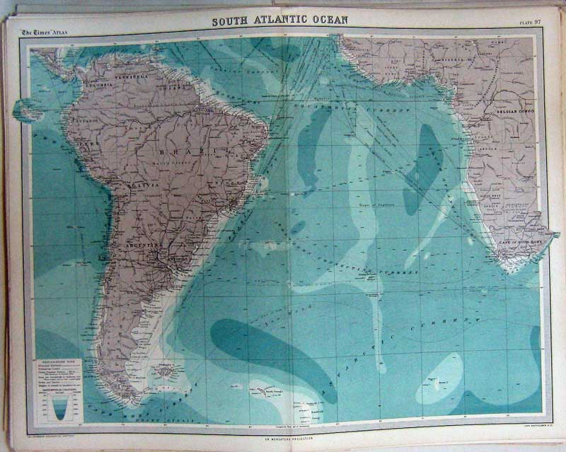 Print Map South Atlantic America Africa Cape Hope Falkland 097C229 Old Original