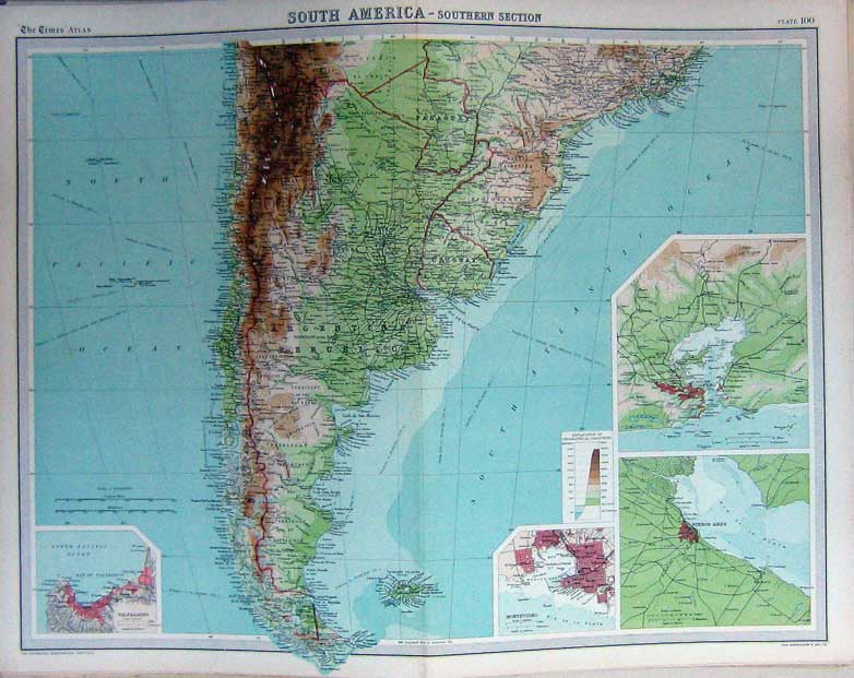 Print Map South America Atlas Falkland Islands Rio Janeiro 100C229 Old Original
