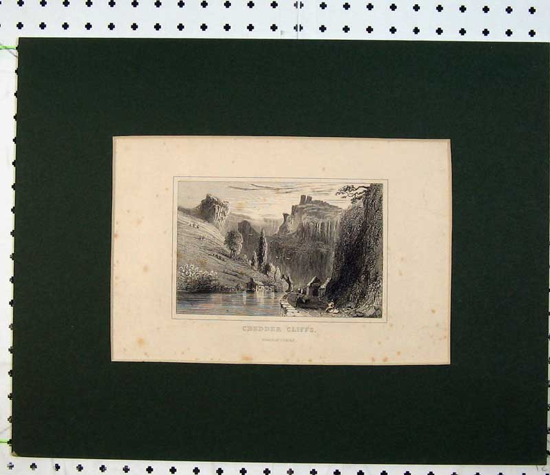Print View Chedder Cliffs Somersetshire England River Country 105C230 Old Original