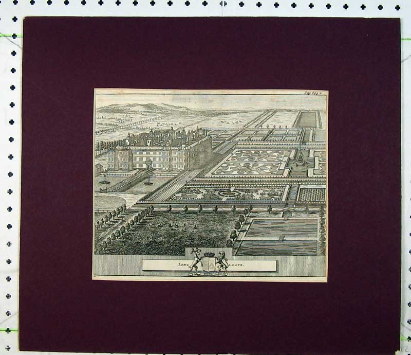 Print C1800 Engraving Long Leate Mansion House Gardens Trees 106C230 Old Original