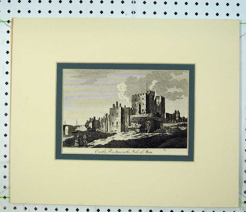 Print C1800 Engraving Castle Rushin Isle Man 107C230 Old Original