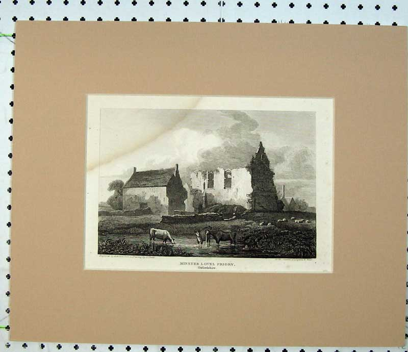 Print 1820 Engraving Minster Lovel Priory Oxfordshire England 111C230 Old Original